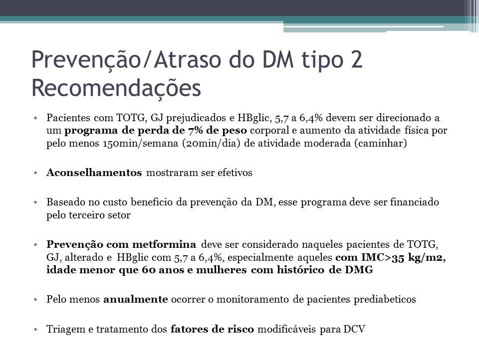 Prevenção/Atraso do DM tipo 2 Recomendações Pacientes com TOTG, GJ prejudicados e HBglic, 5,7 a 6,4% devem ser direcionado a um programa de perda de 7