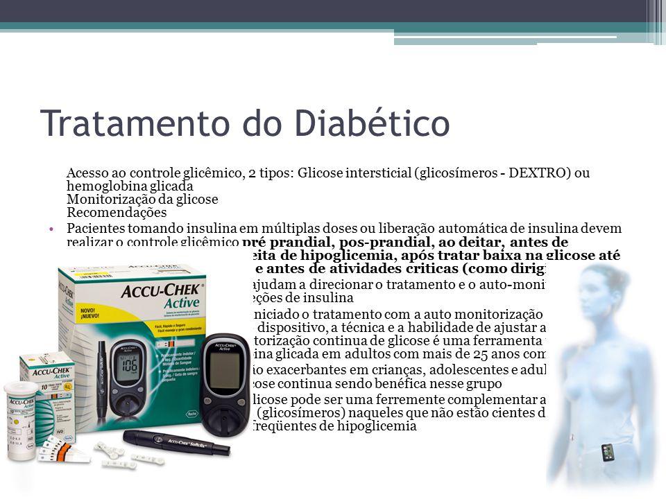 Tratamento do Diabético Acesso ao controle glicêmico, 2 tipos: Glicose intersticial (glicosímeros - DEXTRO) ou hemoglobina glicada Monitorização da gl