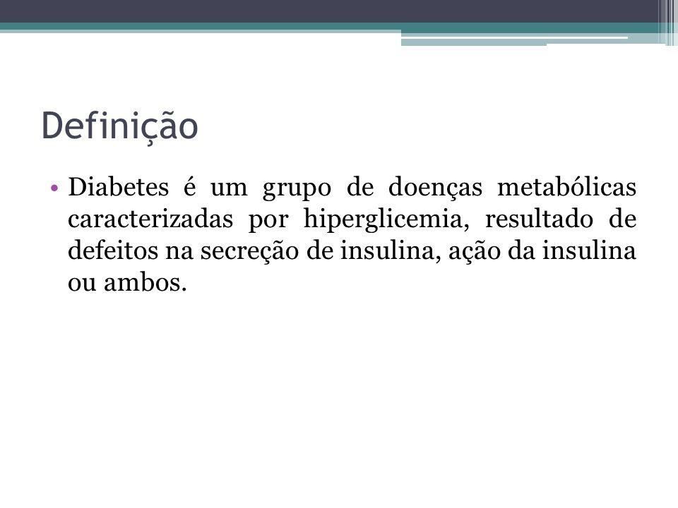 Definição Diabetes é um grupo de doenças metabólicas caracterizadas por hiperglicemia, resultado de defeitos na secreção de insulina, ação da insulina