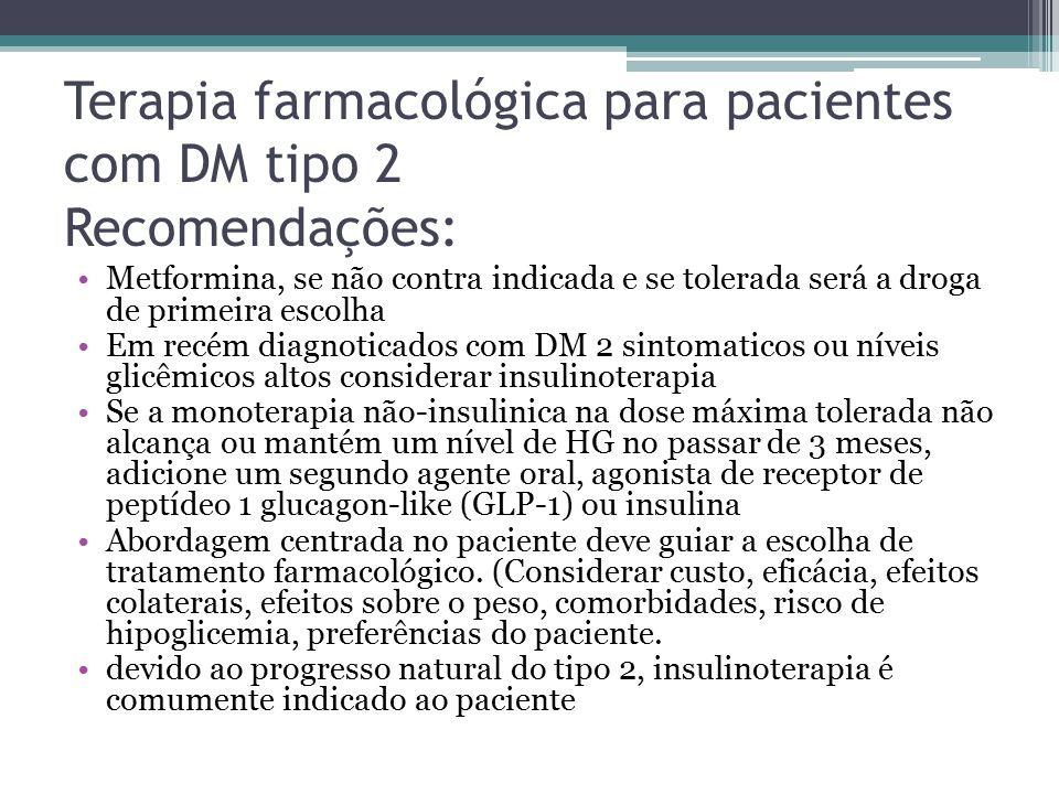 Terapia farmacológica para pacientes com DM tipo 2 Recomendações: Metformina, se não contra indicada e se tolerada será a droga de primeira escolha Em