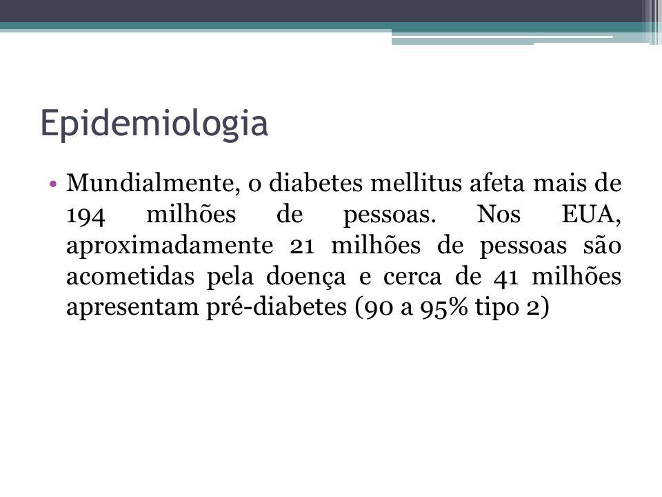 Epidemiologia Mundialmente, o diabetes mellitus afeta mais de 194 milhões de pessoas. Nos EUA, aproximadamente 21 milhões de pessoas são acometidas pe