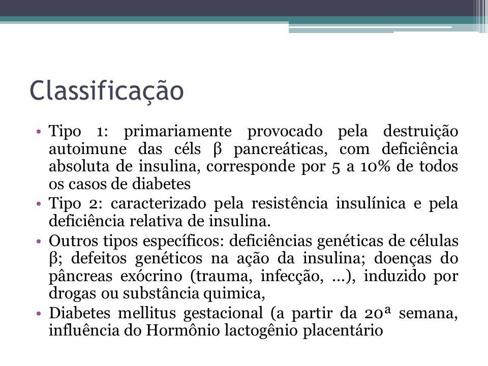 Classificação Tipo 1: primariamente provocado pela destruição autoimune das céls β pancreáticas, com deficiência absoluta de insulina, corresponde por