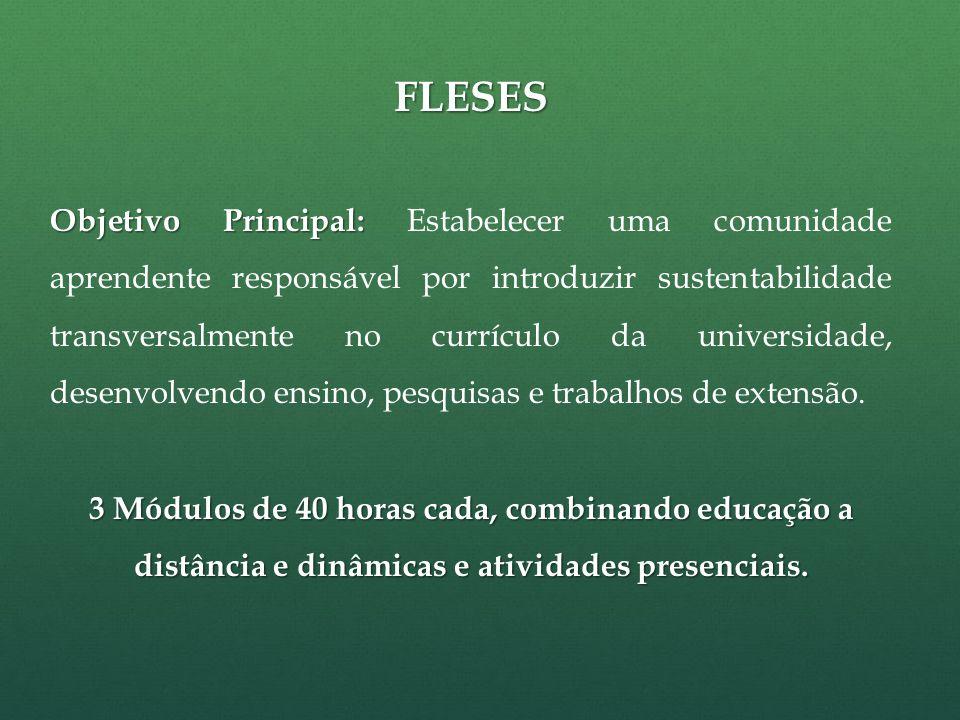 FLESES Objetivo Principal: Objetivo Principal: Estabelecer uma comunidade aprendente responsável por introduzir sustentabilidade transversalmente no currículo da universidade, desenvolvendo ensino, pesquisas e trabalhos de extensão.