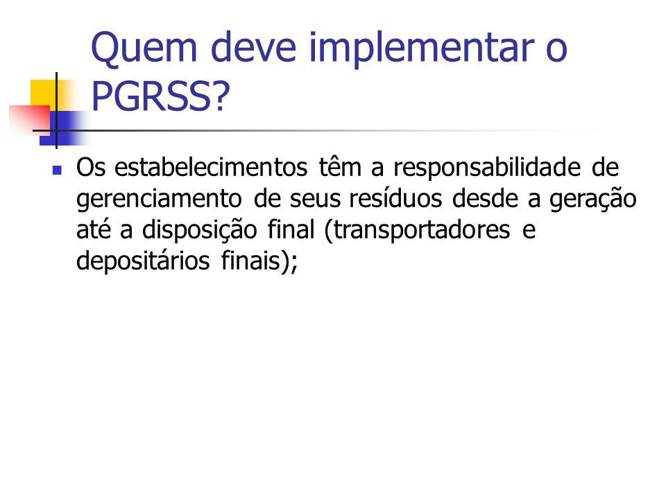 Quem deve implementar o PGRSS? Os estabelecimentos têm a responsabilidade de gerenciamento de seus resíduos desde a geração até a disposição final (tr