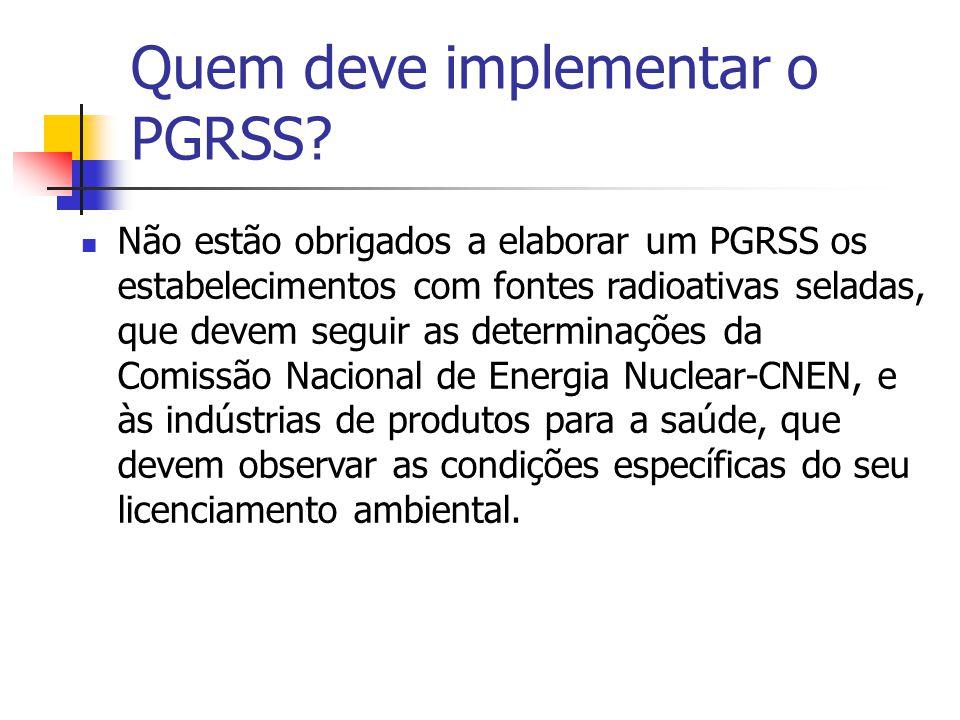 Quem deve implementar o PGRSS? Não estão obrigados a elaborar um PGRSS os estabelecimentos com fontes radioativas seladas, que devem seguir as determi