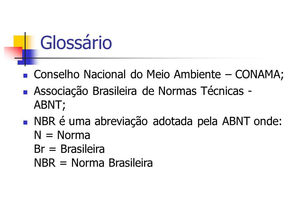 Glossário Conselho Nacional do Meio Ambiente – CONAMA; Associação Brasileira de Normas Técnicas - ABNT; NBR é uma abreviação adotada pela ABNT onde: N