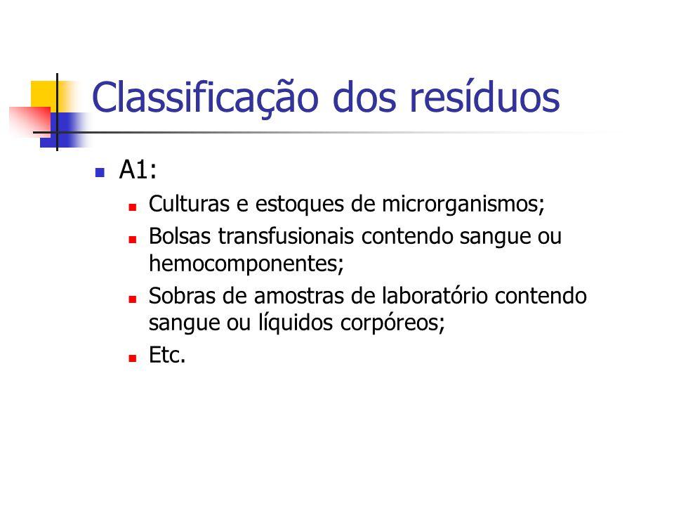 Classificação dos resíduos A1: Culturas e estoques de microrganismos; Bolsas transfusionais contendo sangue ou hemocomponentes; Sobras de amostras de