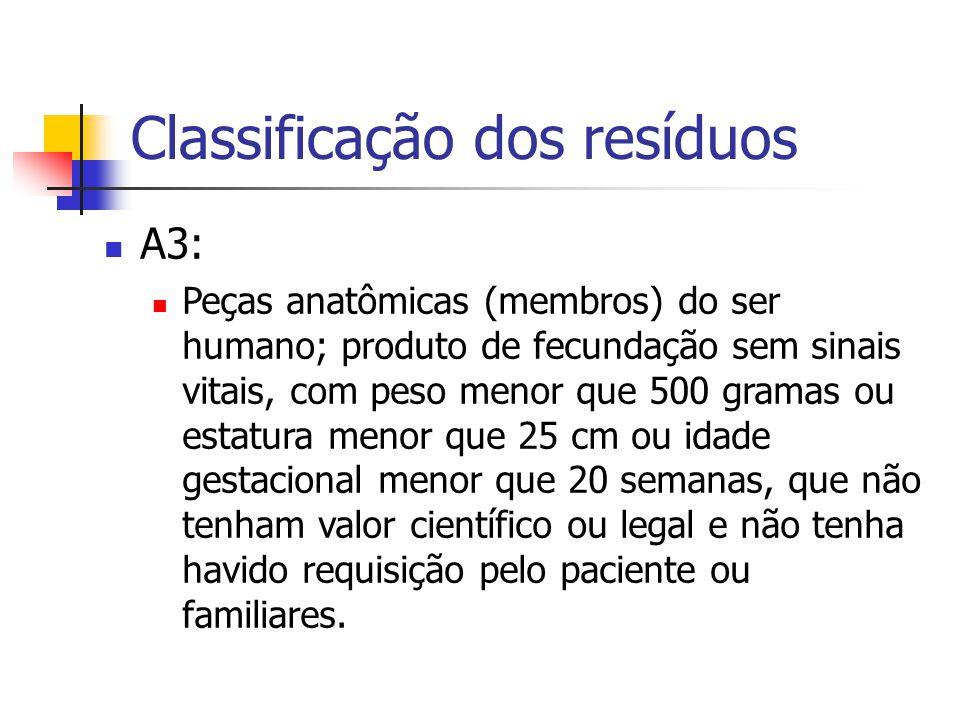 Classificação dos resíduos A3: Peças anatômicas (membros) do ser humano; produto de fecundação sem sinais vitais, com peso menor que 500 gramas ou est