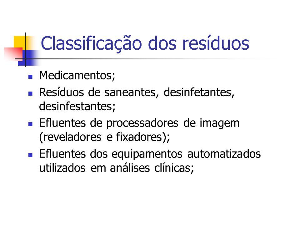 Classificação dos resíduos Medicamentos; Resíduos de saneantes, desinfetantes, desinfestantes; Efluentes de processadores de imagem (reveladores e fix