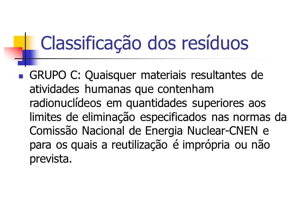 Classificação dos resíduos GRUPO C: Quaisquer materiais resultantes de atividades humanas que contenham radionuclídeos em quantidades superiores aos l