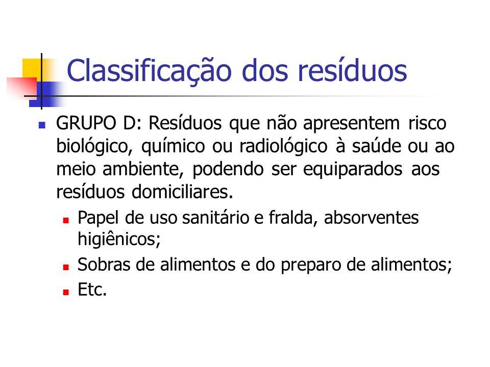 Classificação dos resíduos GRUPO D: Resíduos que não apresentem risco biológico, químico ou radiológico à saúde ou ao meio ambiente, podendo ser equip