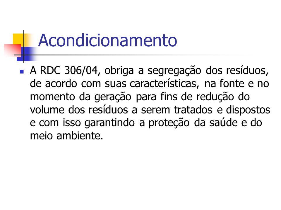 Acondicionamento A RDC 306/04, obriga a segregação dos resíduos, de acordo com suas características, na fonte e no momento da geração para fins de red