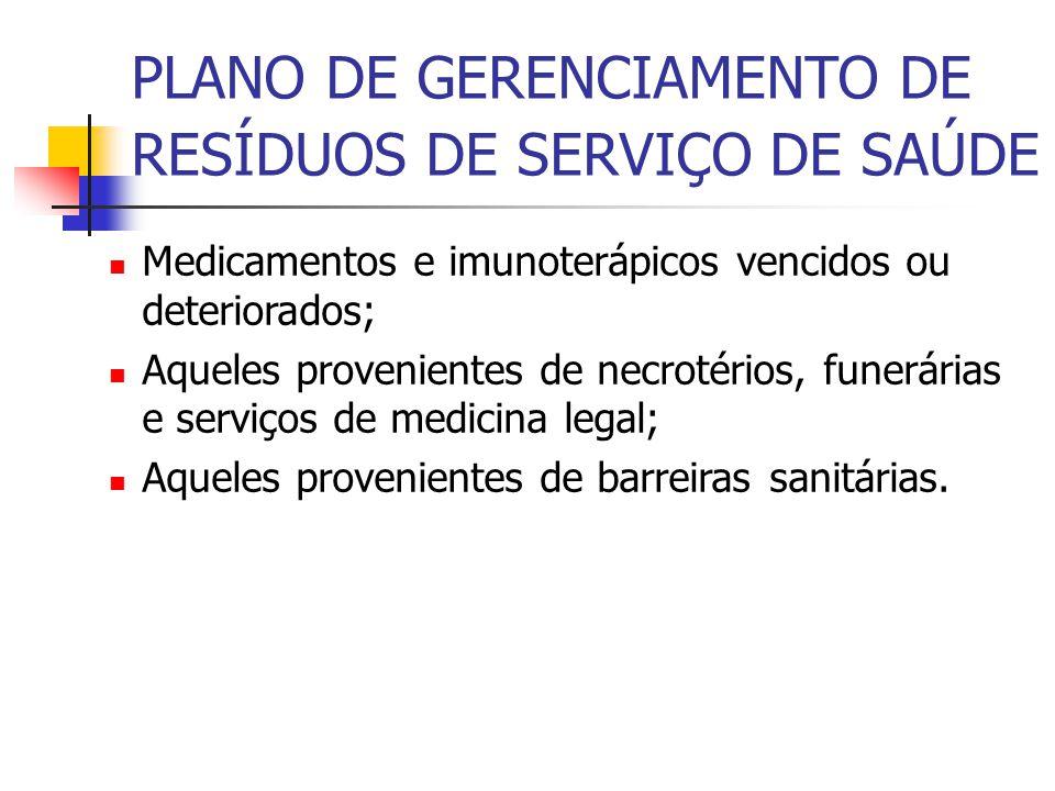 PLANO DE GERENCIAMENTO DE RESÍDUOS DE SERVIÇO DE SAÚDE Medicamentos e imunoterápicos vencidos ou deteriorados; Aqueles provenientes de necrotérios, fu