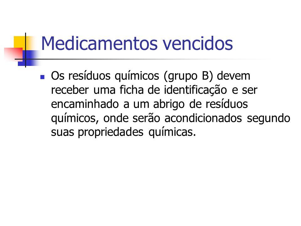 Medicamentos vencidos Os resíduos químicos (grupo B) devem receber uma ficha de identificação e ser encaminhado a um abrigo de resíduos químicos, onde