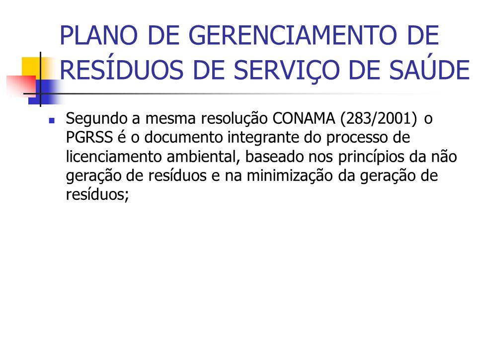 Segundo a mesma resolução CONAMA (283/2001) o PGRSS é o documento integrante do processo de licenciamento ambiental, baseado nos princípios da não ger