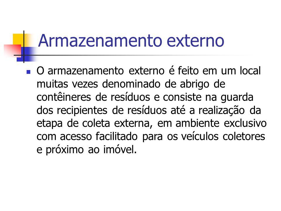 Armazenamento externo O armazenamento externo é feito em um local muitas vezes denominado de abrigo de contêineres de resíduos e consiste na guarda do