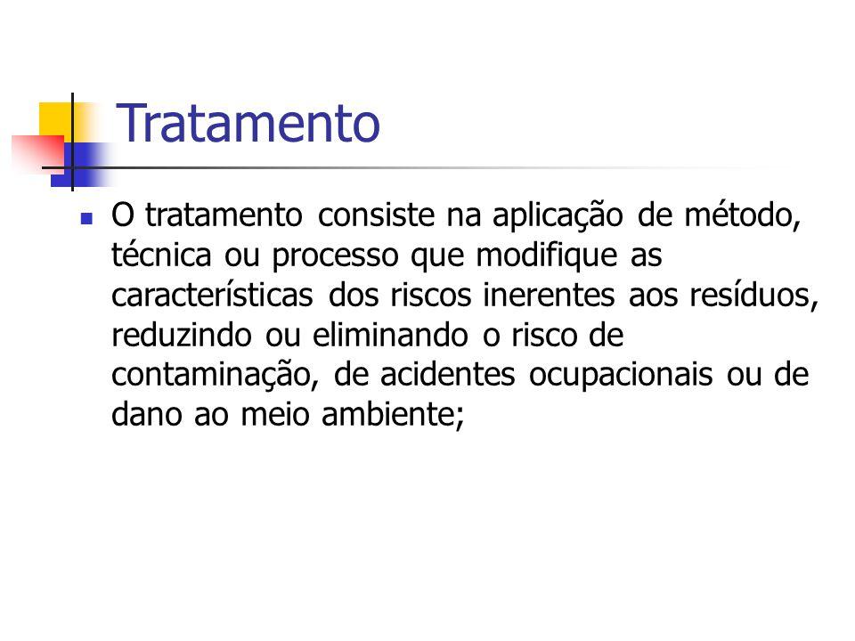 Tratamento O tratamento consiste na aplicação de método, técnica ou processo que modifique as características dos riscos inerentes aos resíduos, reduz