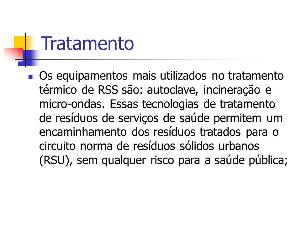 Tratamento Os equipamentos mais utilizados no tratamento térmico de RSS são: autoclave, incineração e micro-ondas. Essas tecnologias de tratamento de