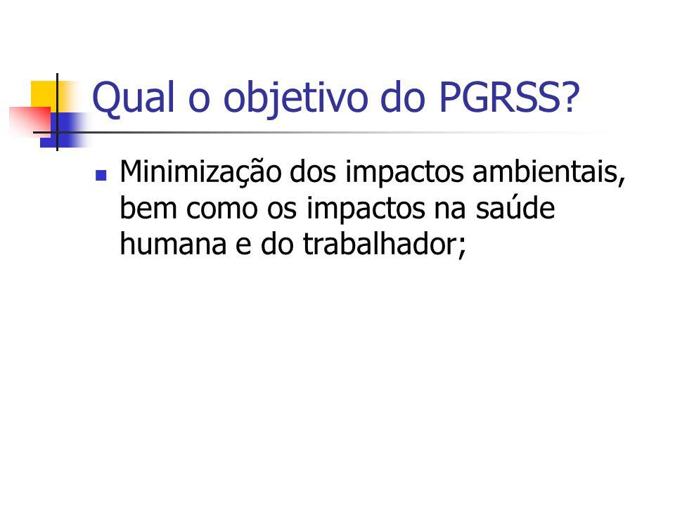 Qual o objetivo do PGRSS? Minimização dos impactos ambientais, bem como os impactos na saúde humana e do trabalhador;