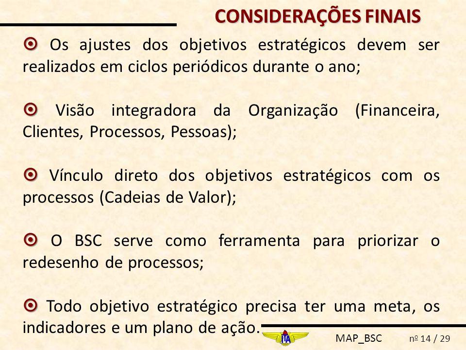 MAP_BSC n o 14 / 29 CONSIDERAÇÕES FINAIS   Os ajustes dos objetivos estratégicos devem ser realizados em ciclos periódicos durante o ano;   Visão integradora da Organização (Financeira, Clientes, Processos, Pessoas);   Vínculo direto dos objetivos estratégicos com os processos (Cadeias de Valor);   O BSC serve como ferramenta para priorizar o redesenho de processos;   Todo objetivo estratégico precisa ter uma meta, os indicadores e um plano de ação.
