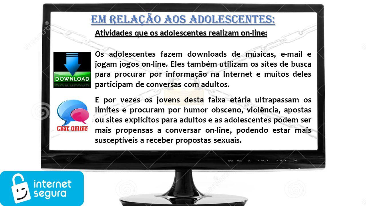 Atividades que os adolescentes realizam on-line: Os adolescentes fazem downloads de músicas, e-mail e jogam jogos on-line. Eles também utilizam os sit