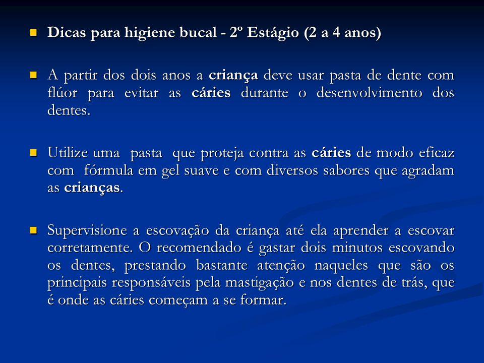 Dicas para higiene bucal - 2º Estágio (2 a 4 anos) Dicas para higiene bucal - 2º Estágio (2 a 4 anos) A partir dos dois anos a criança deve usar pasta