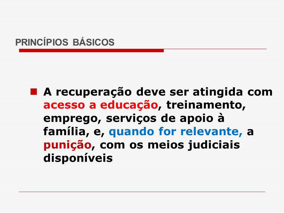 PRINCÍPIOS BÁSICOS A recuperação deve ser atingida com acesso a educação, treinamento, emprego, serviços de apoio à família, e, quando for relevante,