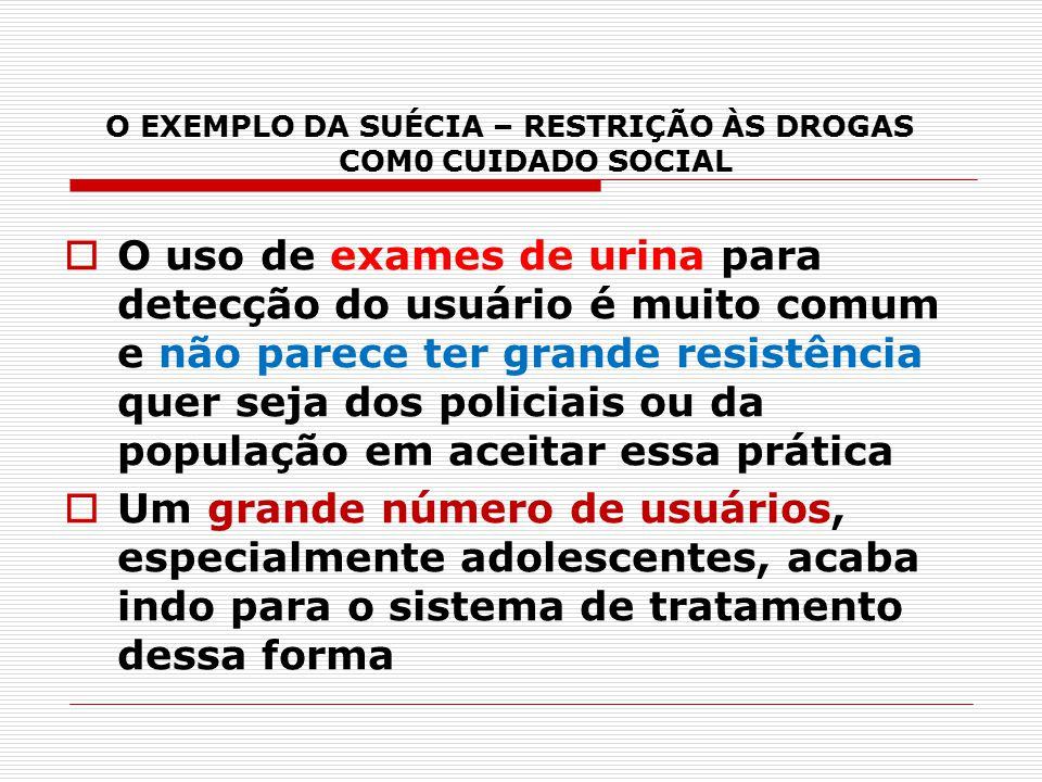 O EXEMPLO DA SUÉCIA – RESTRIÇÃO ÀS DROGAS COM0 CUIDADO SOCIAL  O uso de exames de urina para detecção do usuário é muito comum e não parece ter grand