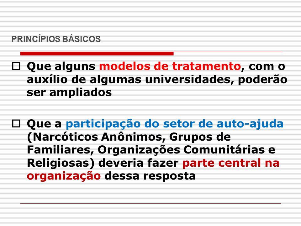PRINCÍPIOS BÁSICOS  Que alguns modelos de tratamento, com o auxílio de algumas universidades, poderão ser ampliados  Que a participação do setor de