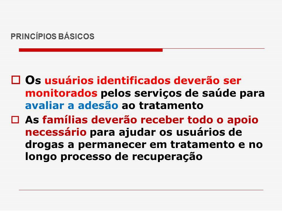 PRINCÍPIOS BÁSICOS  O s usuários identificados deverão ser monitorados pelos serviços de saúde para avaliar a adesão ao tratamento  As famílias deve