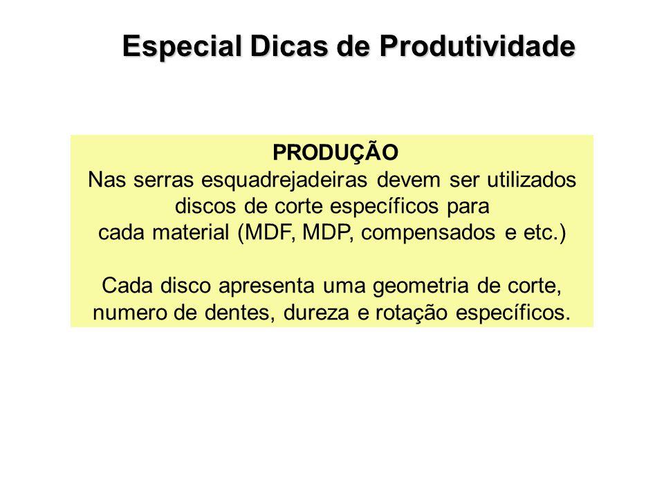 PRODUÇÃO Nas serras esquadrejadeiras devem ser utilizados discos de corte específicos para cada material (MDF, MDP, compensados e etc.) Cada disco apr