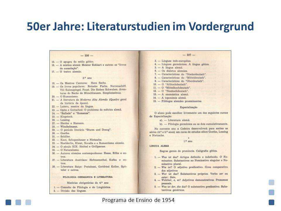 50er Jahre: Literaturstudien im Vordergrund Programa de Ensino de 1954