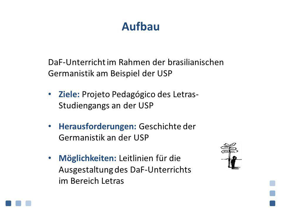 Aufbau DaF-Unterricht im Rahmen der brasilianischen Germanistik am Beispiel der USP Ziele: Projeto Pedagógico des Letras- Studiengangs an der USP Hera