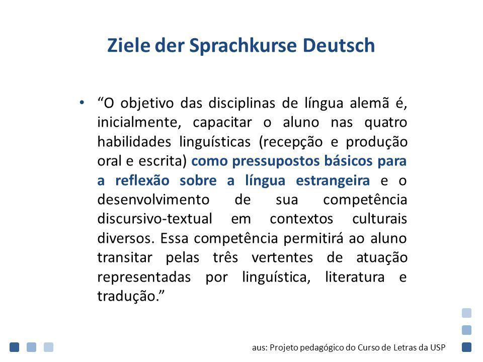 """Ziele der Sprachkurse Deutsch """"O objetivo das disciplinas de língua alemã é, inicialmente, capacitar o aluno nas quatro habilidades linguísticas (rece"""