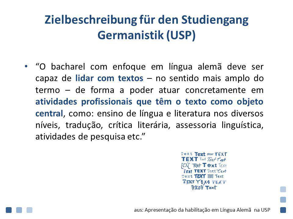 """Zielbeschreibung für den Studiengang Germanistik (USP) """"O bacharel com enfoque em língua alemã deve ser capaz de lidar com textos – no sentido mais am"""