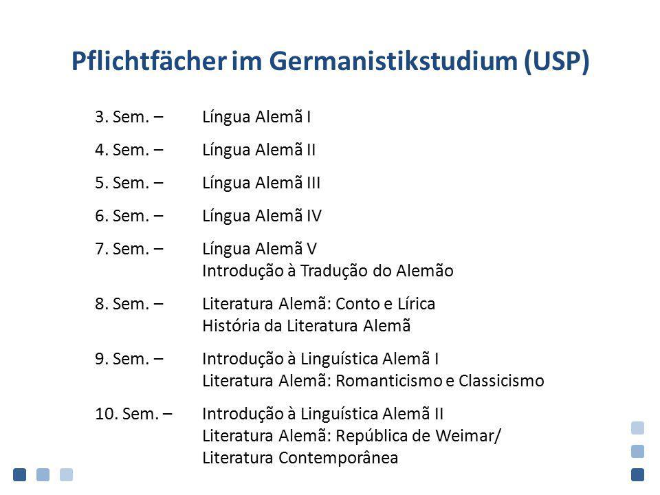 Pflichtfächer im Germanistikstudium (USP) 3. Sem. –Língua Alemã I 4. Sem. –Língua Alemã II 5. Sem. –Língua Alemã III 6. Sem. –Língua Alemã IV 7. Sem.