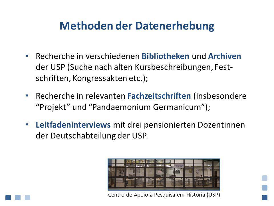 Methoden der Datenerhebung Recherche in verschiedenen Bibliotheken und Archiven der USP (Suche nach alten Kursbeschreibungen, Fest- schriften, Kongres