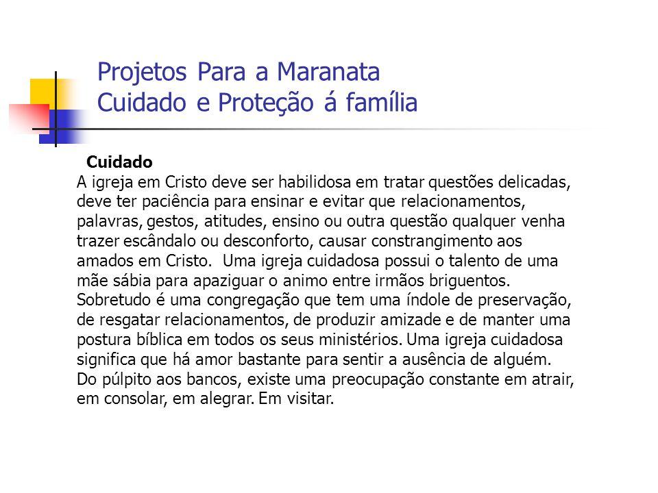 Projetos Para a Maranata Cuidado e Proteção á família Cuidado A igreja em Cristo deve ser habilidosa em tratar questões delicadas, deve ter paciência