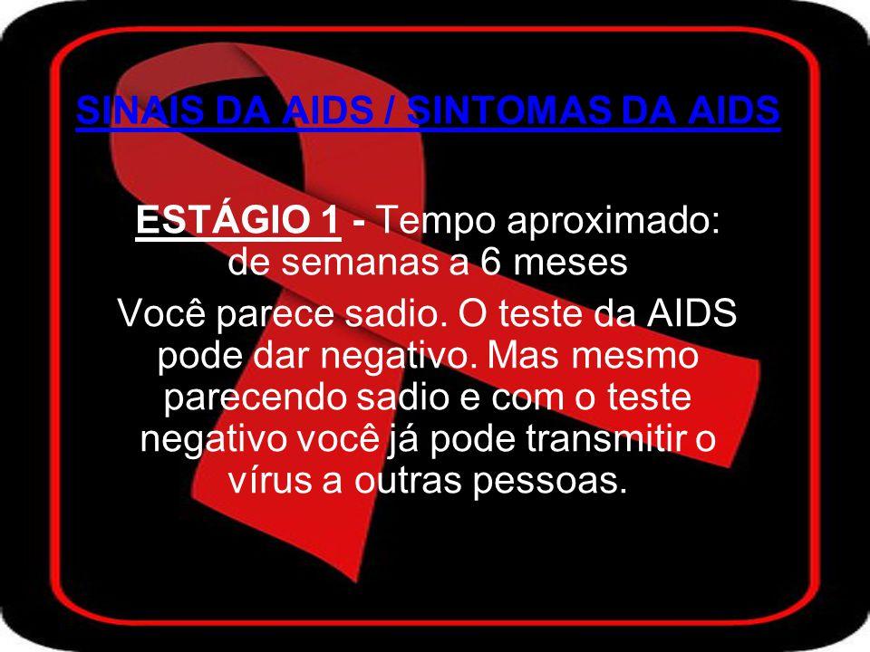 ESTÁGIO 2 - Geralmente pode levar de 1 ano a 5 anos (ou mais) Você mantém a aparência saudável mas o teste da AIDS já dá positivo.