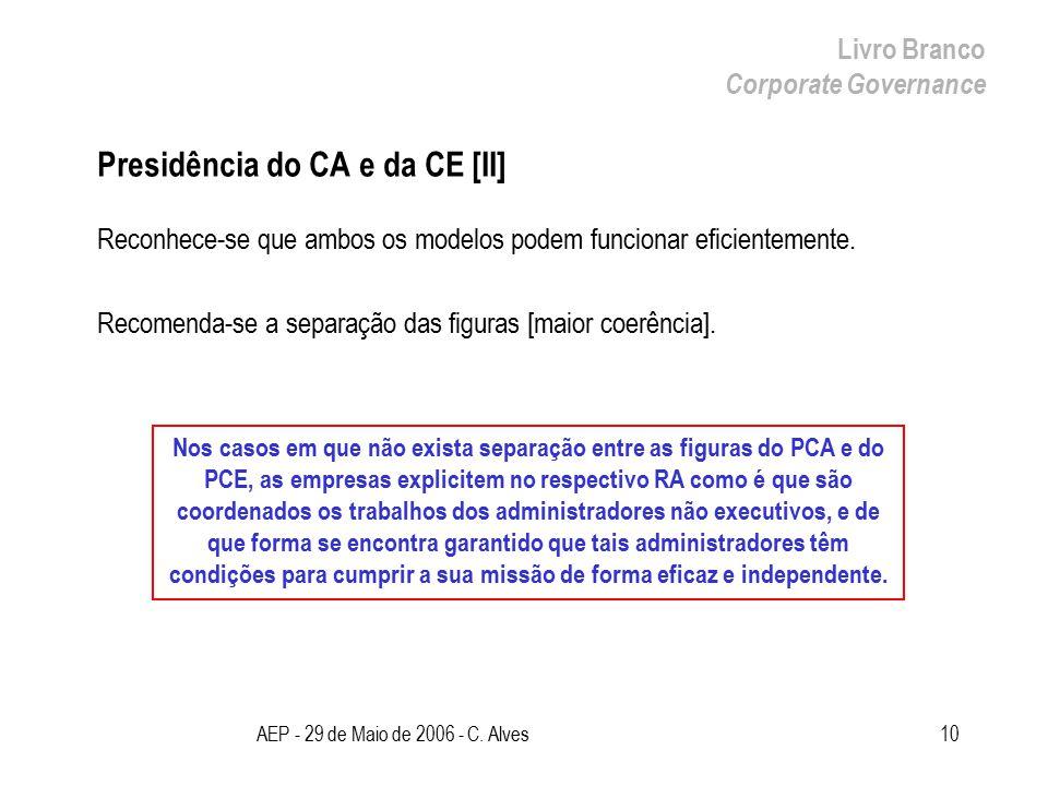 AEP - 29 de Maio de 2006 - C. Alves10 Presidência do CA e da CE [II] Reconhece-se que ambos os modelos podem funcionar eficientemente. Recomenda-se a