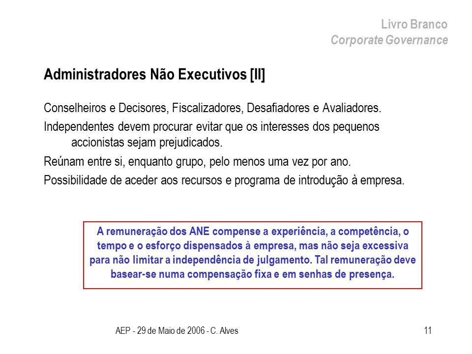 AEP - 29 de Maio de 2006 - C. Alves11 Administradores Não Executivos [II] Conselheiros e Decisores, Fiscalizadores, Desafiadores e Avaliadores. Indepe