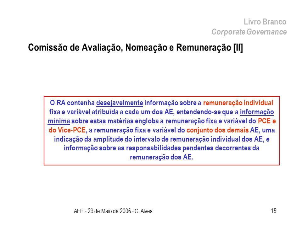AEP - 29 de Maio de 2006 - C. Alves15 Comissão de Avaliação, Nomeação e Remuneração [II] Livro Branco Corporate Governance O RA contenha desejavelment