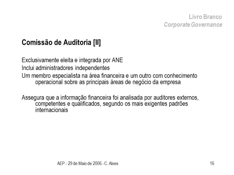 AEP - 29 de Maio de 2006 - C. Alves16 Comissão de Auditoria [II] Exclusivamente eleita e integrada por ANE Inclui administradores independentes Um mem