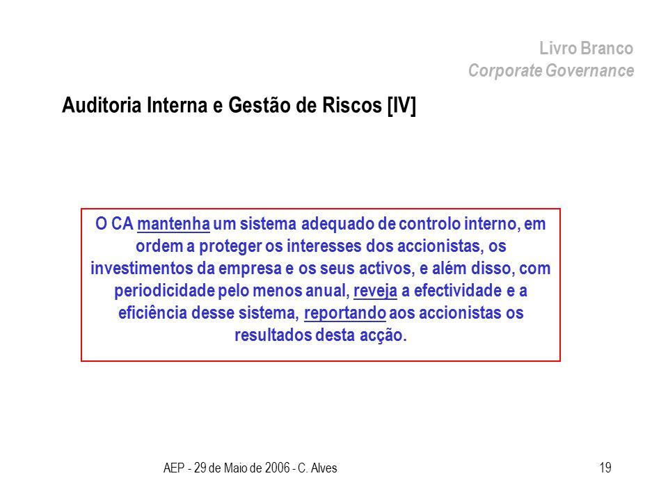 AEP - 29 de Maio de 2006 - C. Alves19 Auditoria Interna e Gestão de Riscos [IV] Livro Branco Corporate Governance O CA mantenha um sistema adequado de