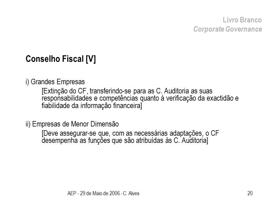 AEP - 29 de Maio de 2006 - C. Alves20 Conselho Fiscal [V] i) Grandes Empresas [Extinção do CF, transferindo-se para as C. Auditoria as suas responsabi