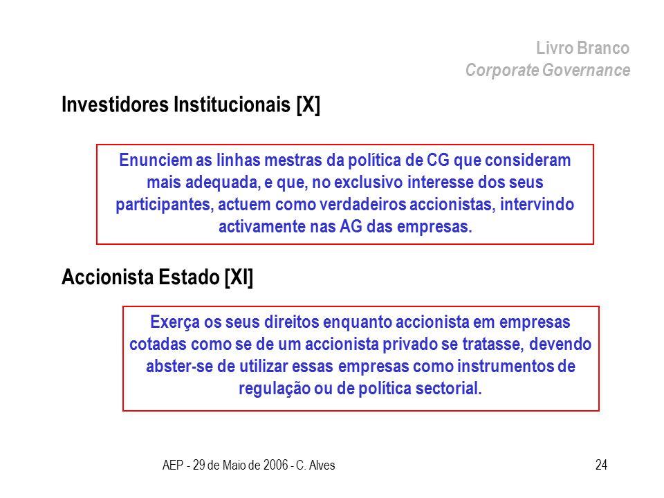 AEP - 29 de Maio de 2006 - C. Alves24 Investidores Institucionais [X] Livro Branco Corporate Governance Enunciem as linhas mestras da política de CG q