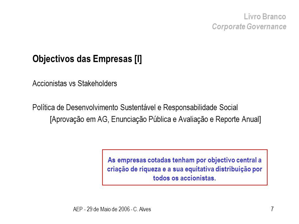 AEP - 29 de Maio de 2006 - C. Alves7 Objectivos das Empresas [I] Accionistas vs Stakeholders Política de Desenvolvimento Sustentável e Responsabilidad