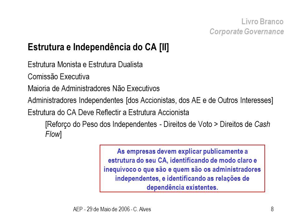 AEP - 29 de Maio de 2006 - C. Alves8 Estrutura e Independência do CA [II] Estrutura Monista e Estrutura Dualista Comissão Executiva Maioria de Adminis