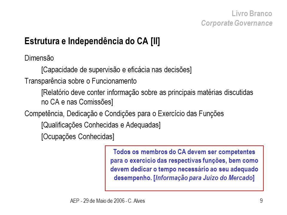 AEP - 29 de Maio de 2006 - C. Alves9 Estrutura e Independência do CA [II] Dimensão [Capacidade de supervisão e eficácia nas decisões] Transparência so