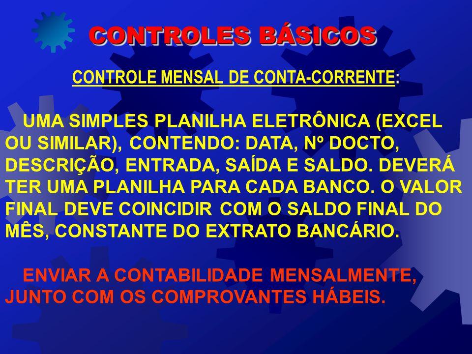 SÃO OS SEGUINTES OS CONTROLES BÁSICOS QUE A EMPRESA DEVE MANTER INTERNAMENTE E ENVIAR MENSALMENTE A CONTABILIDADE: CONTROLE MENSAL DE CONTA-CORRENTE CONTROLE MENSAL DE CONTAS A PAGAR CONTROLE MENSAL DE CONTAS A RECEBER CONTROLE MENSAL DE FATURAMENTO CONTROLES BÁSICOS